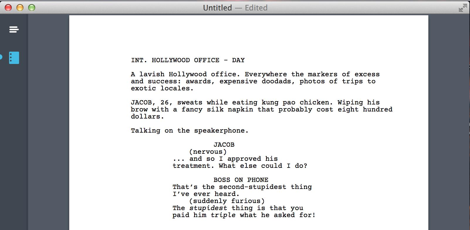 word screenplay template