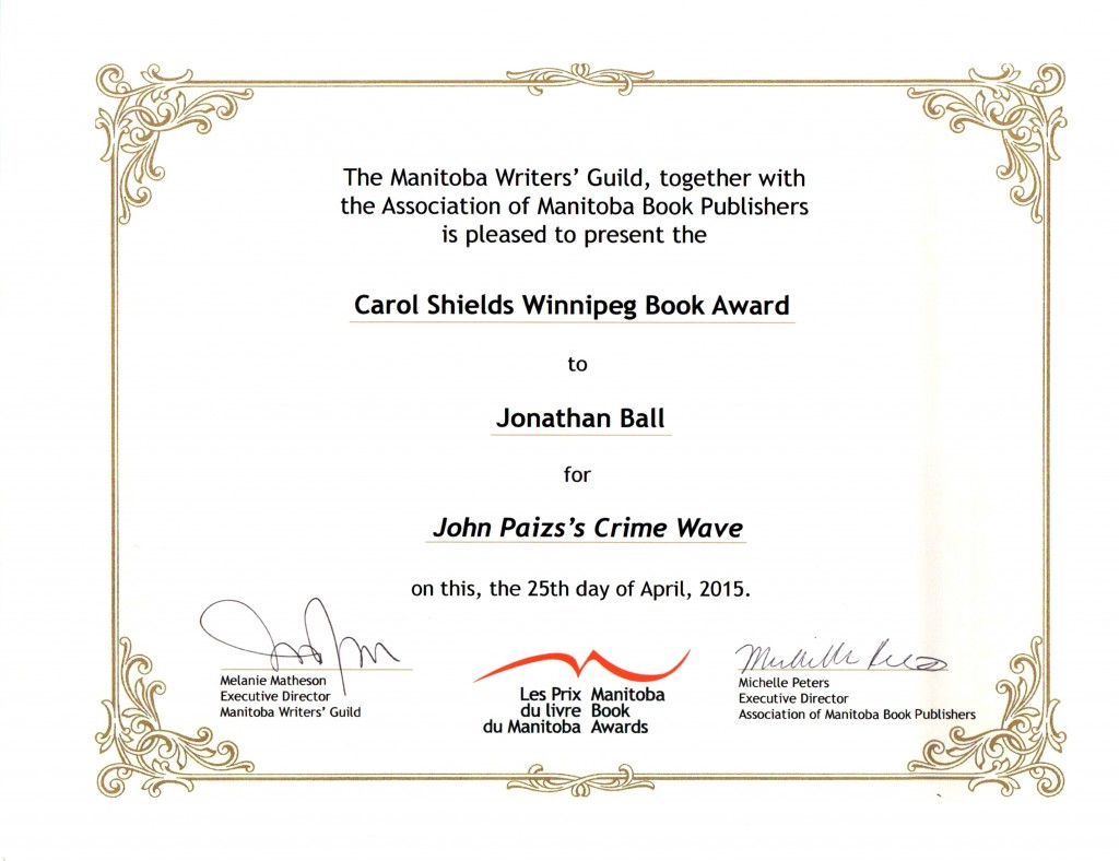 2015 Manitoba Book Award John Paizs Crime Wave Carol Shields Winnipeg