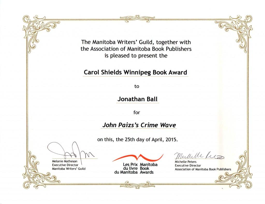 2015 Manitoba Book Award John Paizs Crime Wave Carol Shields Winnipeg